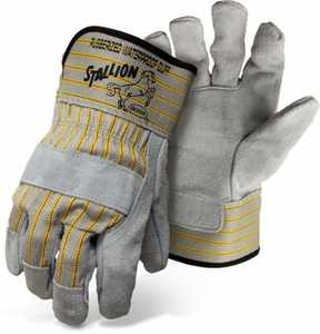 Boss Gloves 1290 Large Gray/Yellow Cotton Work Glove with Leather Palm and Safety Cuff