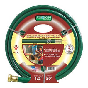 Flexon FR1250 50 ft Reinforced 3-Ply Light Duty Garden Hose