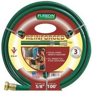 Flexon FR58100 Tire Cord Garden Hose 5/8x100 3ply 3yr