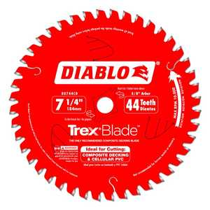FREUD D0744CD 7-1/4 in 44 Tooth Diablo Composite Material/Plastics TrexBlade