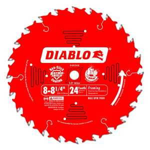 FREUD D0824X 8 in to 8-1/4 in 24 Tooth Diablo Framing Saw Blade