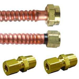 JMF Company LF4095312126514 7/8 OD 3/4 FIP 18 in ELECT STAINLESS STEEL BRAIDED WATER HEATER CONN KIT