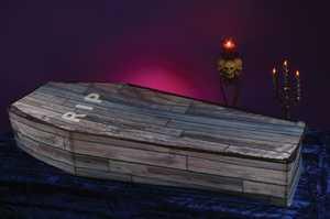 Fun World 91593 Collapsible Coffin - Wood Grain