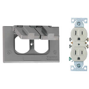 Sigma Electric/Gampak 14227 Horizontal Gray Duplex Cover With Receptacle