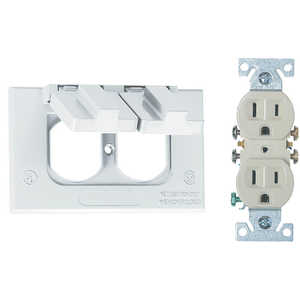 Sigma Electric/Gampak 14227WH Horizontal White Duplex Cover With Receptacle