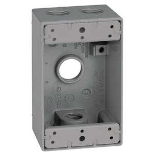 Sigma Electric/Gampak 14251 1/2-Inch 1-Gang Four Hole Gray Box