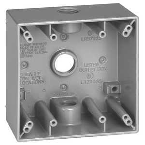 Sigma Electric/Gampak 14350 1/2-Inch 2-Gang Three Hole Gray Box