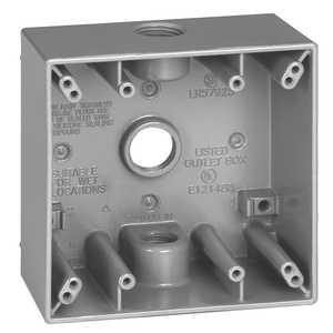Sigma Electric/Gampak 14352 3/4-Inch 2-Gang Three Hole Gray Box