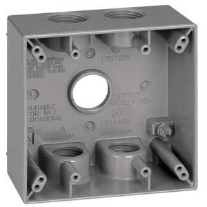 Sigma Electric/Gampak 14353-5 3/4-Inch 2-Gang Five Hole Gray Box