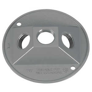 Sigma Electric/Gampak 14383 1/2-Inch Gray Three Hole Round Lampholder Cover