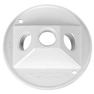 Sigma Electric/Gampak 14383WH 1/2-Inch White Three Hole Round Lampholder Cover