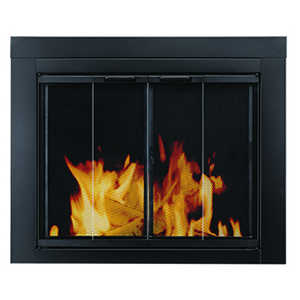 GHP Group AT-1002 Glass Door Fire Screen Ascot Midnight Black Finish Large