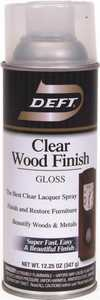 Deft 010-13 Interior Wood Finish Spray Lacquer Amber Gloss Finish 12-Ounce Can