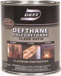 Deft 025-04 Defthane Interior/Exterior Polyurethane Amber Satin Finish Quart