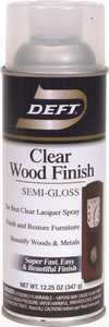 Deft 011-13 Interior Wood Finish Spray Lacquer Clear Semi-Gloss Finish 12-Ounce Can