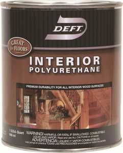 Deft 224-04 Interior Polyurethane Amber Semi-Gloss Finish Quart