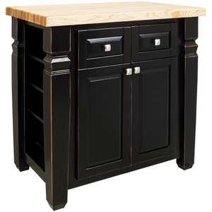 Hardware Resources ISL12-AGB Black Kitchen Island 34x22x34