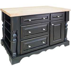 HARDWARE RESOURCES ISL02-DBK Entertaining Black Island Kitchen 53x33x34