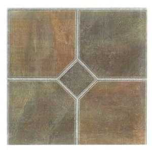 Heart Of America 89716 TRADITION 12-Inch X 12-Inch Traditions Embossed Brown Four Square Diamond Luxury Vinyl Tile