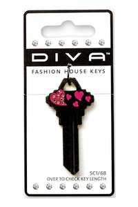 The Hillman Group 87049 Diva Tail Heart Black House Key