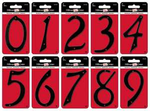 Hillman 841620 #2 - 4 in Black Die-Cast Aluminum Numbers