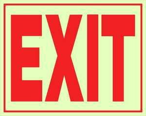 Hillman 840200 Exit Sign 8x11 Glow In The Dark
