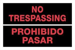 Hillman 841980 Bilingual No Trespassing Sign 8x12