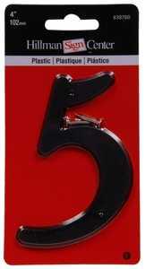 Hillman 839760 #5 - 4 in Black Plastic Number