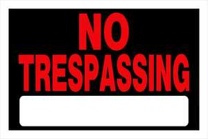Hillman 839904 No Treaspassing Sign 8x12