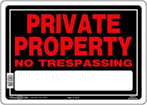 Hillman 840147 Private Property No Trespassing Sign 10x14