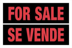 Hillman 841968 Bilingual For Sale Sign 8x12