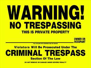 Hillman 842100 No Trespassing Sign 12x16