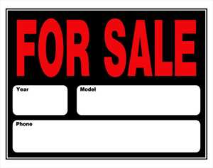 Hillman 842172 For Sale Auto Sign 15x19