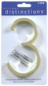 Hillman 843203 Distinctions #3 - 5 in Polished Brass Floating Mount House Numbers