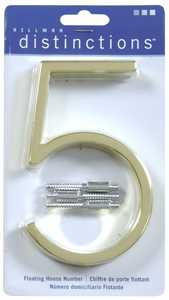 Hillman 843205 Distinctions #5 - 5 in Polished Brass Floating Mount House Numbers