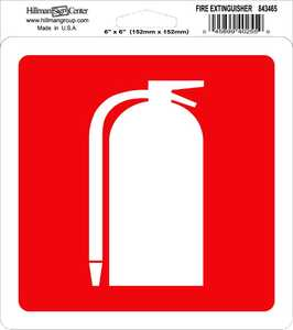 Hillman 843465 Fire Extinguisher Sign 6x6