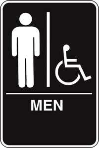 Hillman 844148 Ada Braille Men Handicapped Sign 6x9