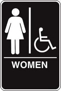 Hillman 844150 Ada Braille Women Handicapped Sign 6x9
