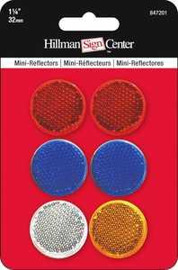 Hillman 847201 Mini Reflectors 1-1/4 in 6pk