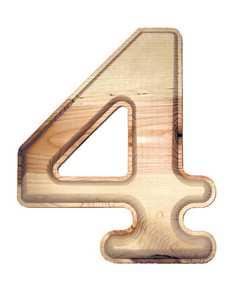 Hillman 847325 #4 - 6-1/2 in Natural Ponderosa Pine Numbers