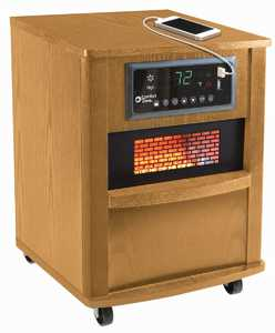 Comfort Zone CZ2062O Premium Quartz Infrared Oak Heater With Built-In Usb Charging Ports