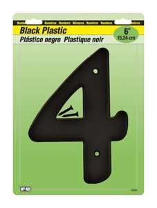Hy-Ko Products 30204 Number Plastic Black 6 in 4