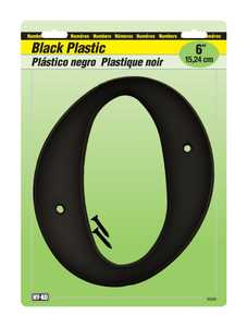 Hy-Ko Products 30210 Number Plastic Black 6 in 0