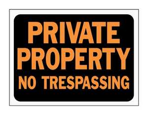 Hy-Ko Products 3025 Sign Priv Prop No Trespass9x12