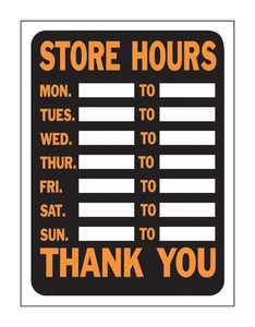 Hy-Ko Products 3030 Sign Store Hours 9x12