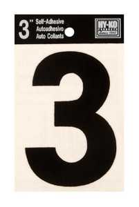 Hy-Ko Products 30403 Black Vinyl Die Cut Number 3 in 3