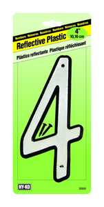 Hy-Ko Products 30604 Reflective Plastic Number 4 in 4