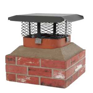 HY C COMPANY SCADJ-L Black Galvanized Steel Adjustable Single Flue Chimney Cap, Large