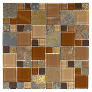 ICL H-2133 Earth Stone Collection H2133 12x12 in Mosaic Tile Sheet