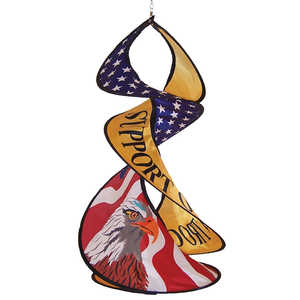 In The Breeze ITB-4764 Support Our Troops Spin Duet Hanging Garden Decoration